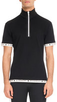 Givenchy Logo-Trim Zip-Front Polo Shirt, Black