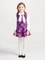 Oscar de la Renta Plaid Wool A-Line Layered Dress