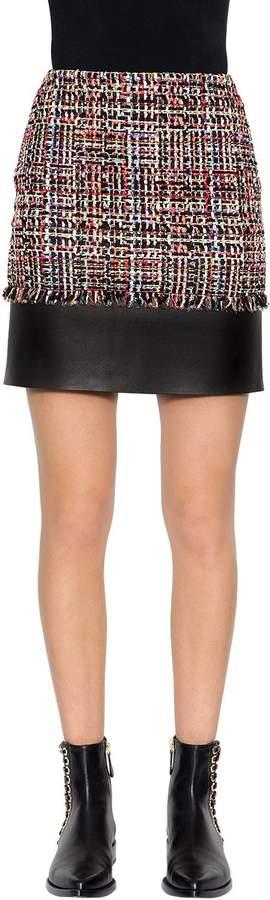 Alexander McQueen Light Tweed Skirt W/ Leather Details