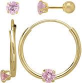FINE JEWELRY Infinite Gold Kids 14K Yellow Gold Pink Cubic Zirconia Stud and Hoop 2-pr. Earring Set