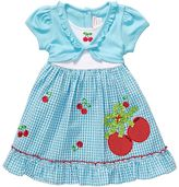 Youngland mock-layer cherry seersucker dress - girls 4-6x