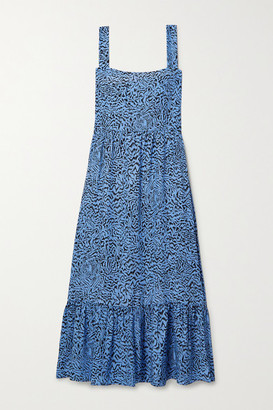 HVN Olympia Tiered Printed Silk Midi Dress - Blue