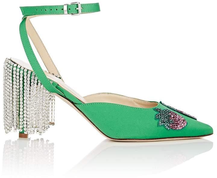Area Women's Crystal-Fringe Satin Sandals