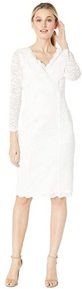 Tahari ASL Long Sleeve Stretch Sparkle Lace Sheath with V-Neckline (Ivory) Women's Dress