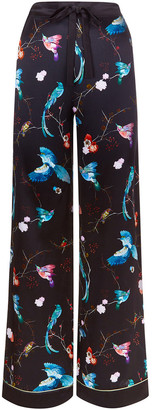 MENG Black Floral Silk Satin Trousers