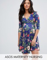 ASOS Maternity - Nursing ASOS Maternity NURSING Wrap Skater Dress in Navy Base Floral