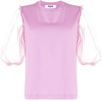 MSGM tulle-sleeve T-shirt