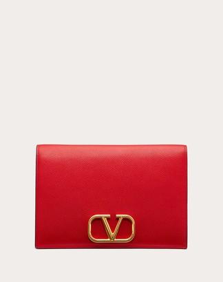 Valentino Vlogo Grainy Calfskin Pouch Women Rouge Pur Calfskin 100% OneSize