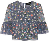 Needle & Thread Starburst Cropped Embellished Tulle Top - Storm blue