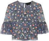 Needle & Thread Starburst Cropped Embellished Tulle Top - UK8