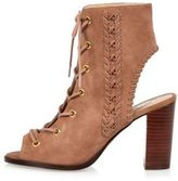 River Island Womens Dusky pink suede lace-up heeled shoe boots