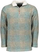 True Grit Aqua & Tan Plaid Half-Zip Pullover