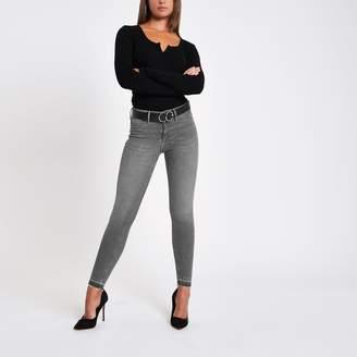 River Island Womens Grey Molly rip hem super skinny jeans