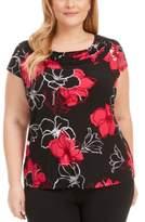 Kasper Plus Size Floral Cowlneck Top