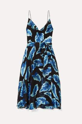 Alice + Olivia Nan Wrap-effect Fil Coupe Chiffon Dress - Navy