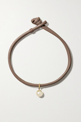 Mizuki Convertible 14-karat Gold, Leather And Pearl Necklace - Taupe
