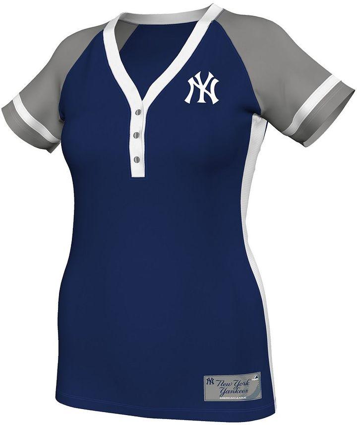 New York Yankees Majestic league diva colorblock henley - women's