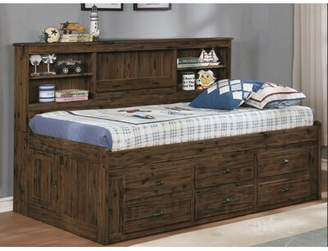 Harriet Bee Basso Twin Mate's and Captains's Bed with Drawers and Bookcase Harriet Bee Bed Frame Color: Chestnut