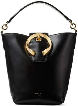 Jimmy Choo MADELINE BUCKET Black Calf Leather Bucket Bag with Metal Buckle