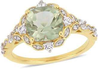 14K 2.40 cttw Green Quartz, White Sapphire &Diamond Ring