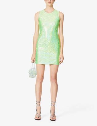Saks Potts Vision reflective-print stretch-jersey mini dress