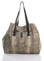 Jerome Dreyfuss Brown Leather Python Print Embossed Pat ExtraLarge Shopper Tote
