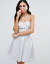 Lipsy Bandeau Skater Dress With Sequin Waistband