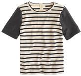 J.Crew Leather-sleeve top in stripe