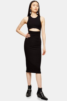 Topshop Black Cut Out Ribbed Midi Dress