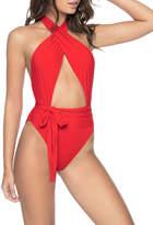Pq Swim Alex Open-Front Halter One-Piece Swimsuit