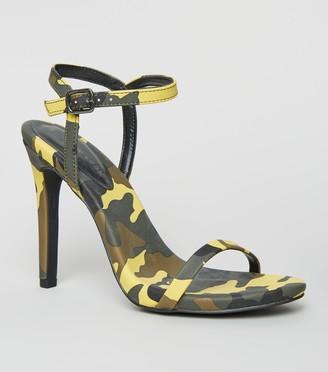 New Look Camo Print Stiletto Heel Sandals