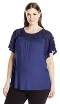 Three Seasons Maternity Women's Maternity Short Sleeve Lace Yoke Solid Top Plus