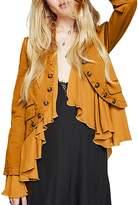 HaoDuoYi Womens Vintage Ruffle Lightweight Open Front Coat Cardigan Jacket(L,)