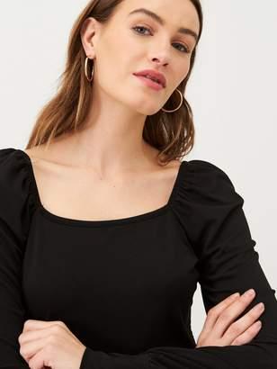 Very Square Neck Jersey Mini Dress - Black