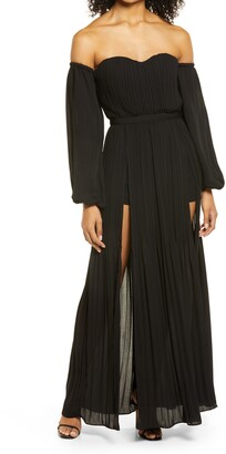 Bebe Off the Shoulder Long Sleeve Plisse Gown