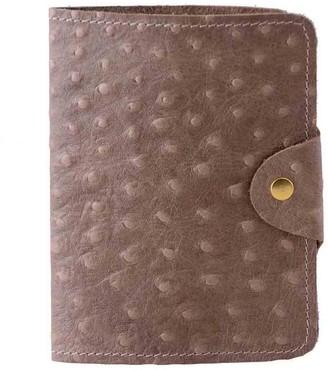 Luxury Italian Leather Cream Ostrich Print Passport Cover
