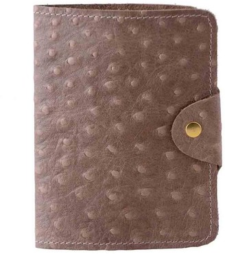 N'damus London Luxury Italian Leather Cream Ostrich Print Passport Cover