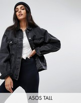 Asos Tall Denim Girlfriend Jacket In Washed Black