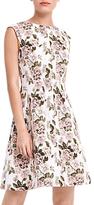 Oasis Royal Worcester Collection Jacquard Skater Dress, Grey/Multi
