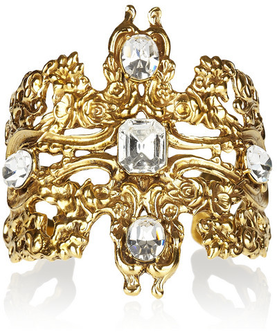 Tom Binns Rokoco Dumont gold-plated Swarovski crystal cuff
