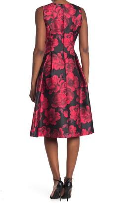 Tahari Floral V-Neck Fit & Flare Dress