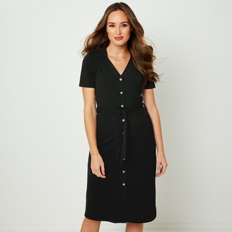 Joe Browns Buttoned Knee-Length Dress with Tie-Waist and Short Sleeves