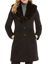 Lauren Ralph Lauren Faux-Fur Shawl Collar Wool Blend Reefer Coat