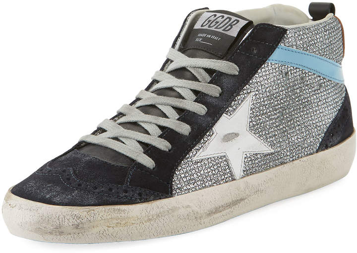 Golden Goose Mid-Top Star Glitter Sneakers, Black/Silver