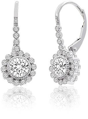 Bliss Women's Earrings Silver - Cubic Zirconia & Sterling Silver Flower Drop Earrings