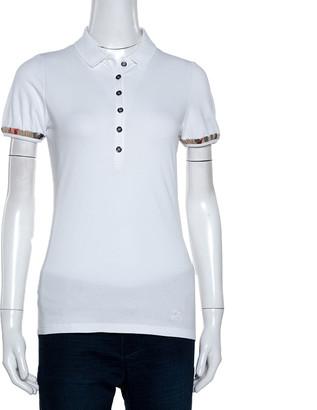 Burberry White Cotton Pique Puff Sleeve Polo T-Shirt S