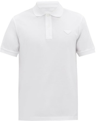 Prada Conceptual Triangle Cotton-pique Polo Shirt - Mens - White