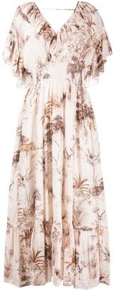 Sandro Ruffled Neck Printed Dress