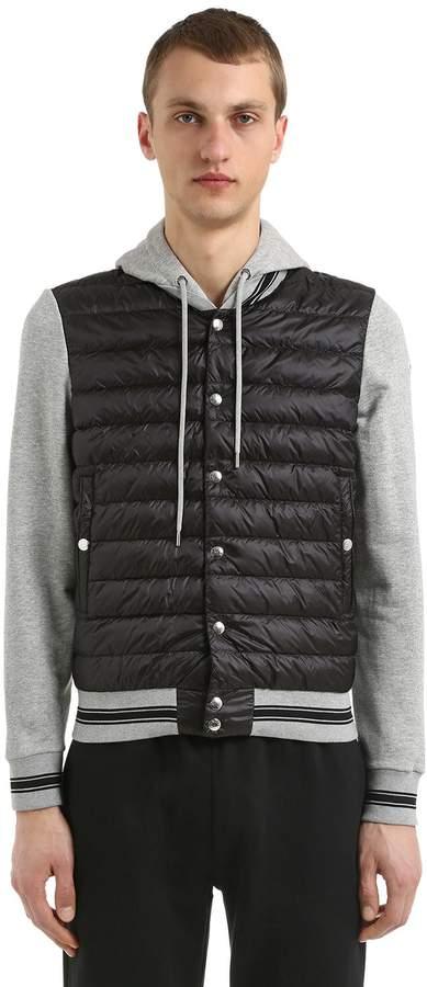 Moncler Nylon & Cotton Hooded Down Jacket
