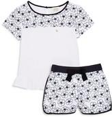 Armani Junior Girls' Embroidered Floral Top & Short Set